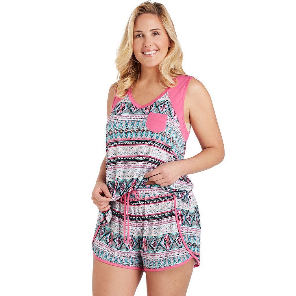Plus Size Cuddl Duds Pajamas: Color Fusion Tank & Boxer Shorts PJ Set