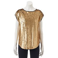 Women's WDNY Black Sequin Boxy Top