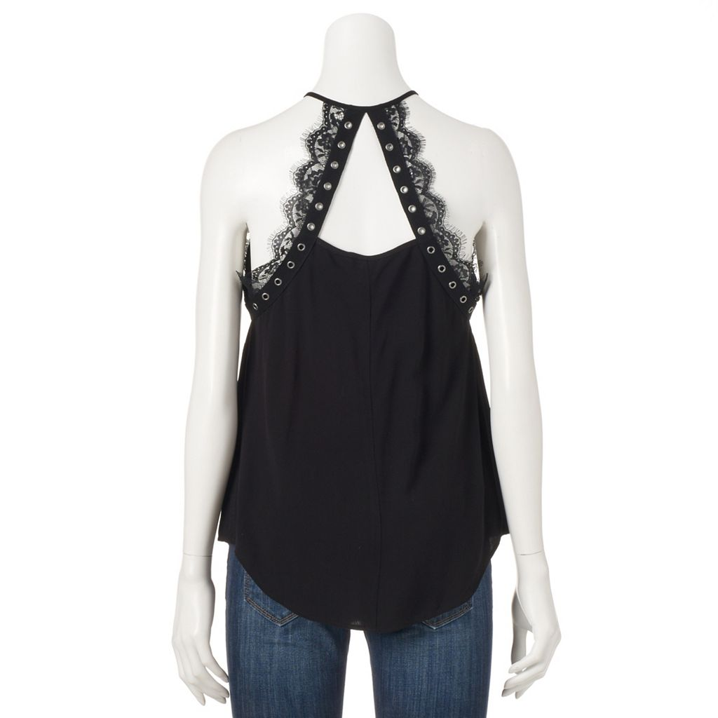 Women's Rock & Republic® Lace Grommet Halter Top