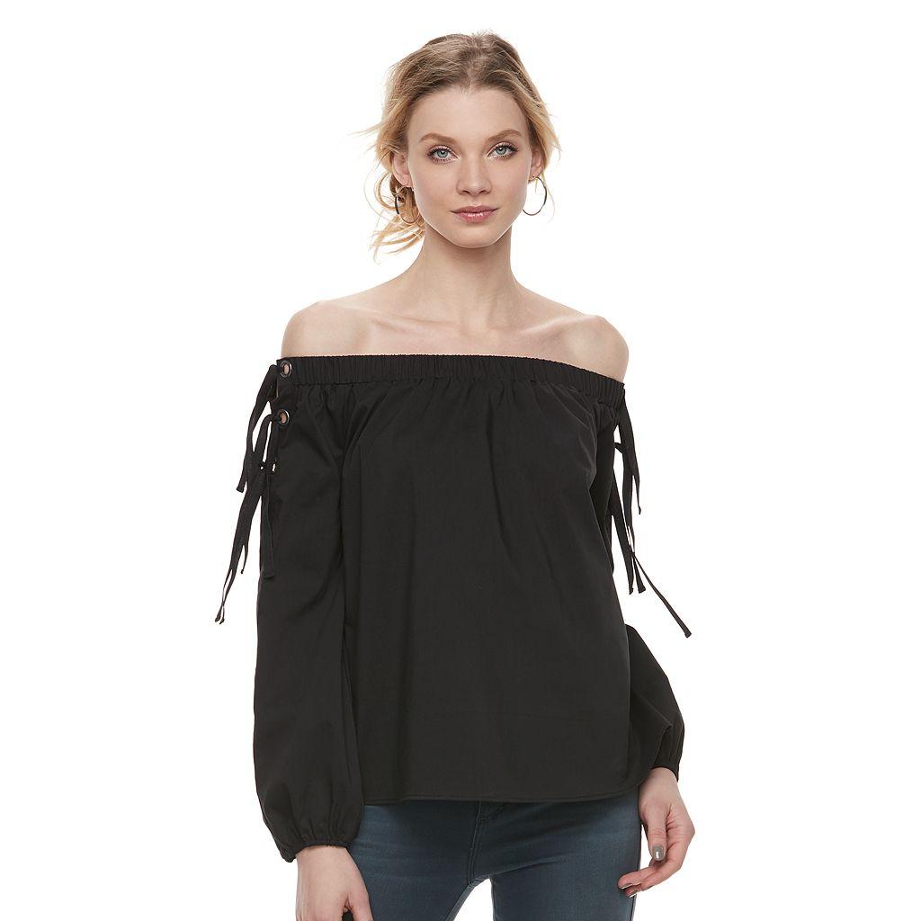 Women's Rock & Republic® Off-the-Shoulder Lace Up Top