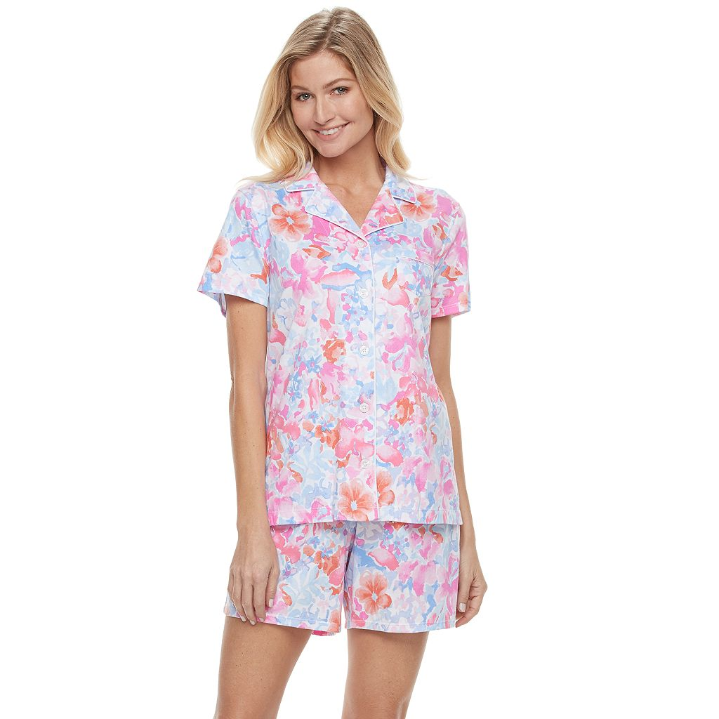 Women's Croft & Barrow® Pajamas: New Wave Top & Bermuda Shorts PJ Set