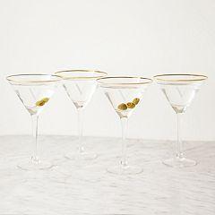 Cathy's Concepts 4 pc Monogram Gold Rim Martini Glass Set