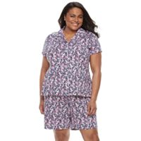 Plus Size Croft & Barrow® Pajamas: New Wave Top & Bermuda Shorts PJ Set