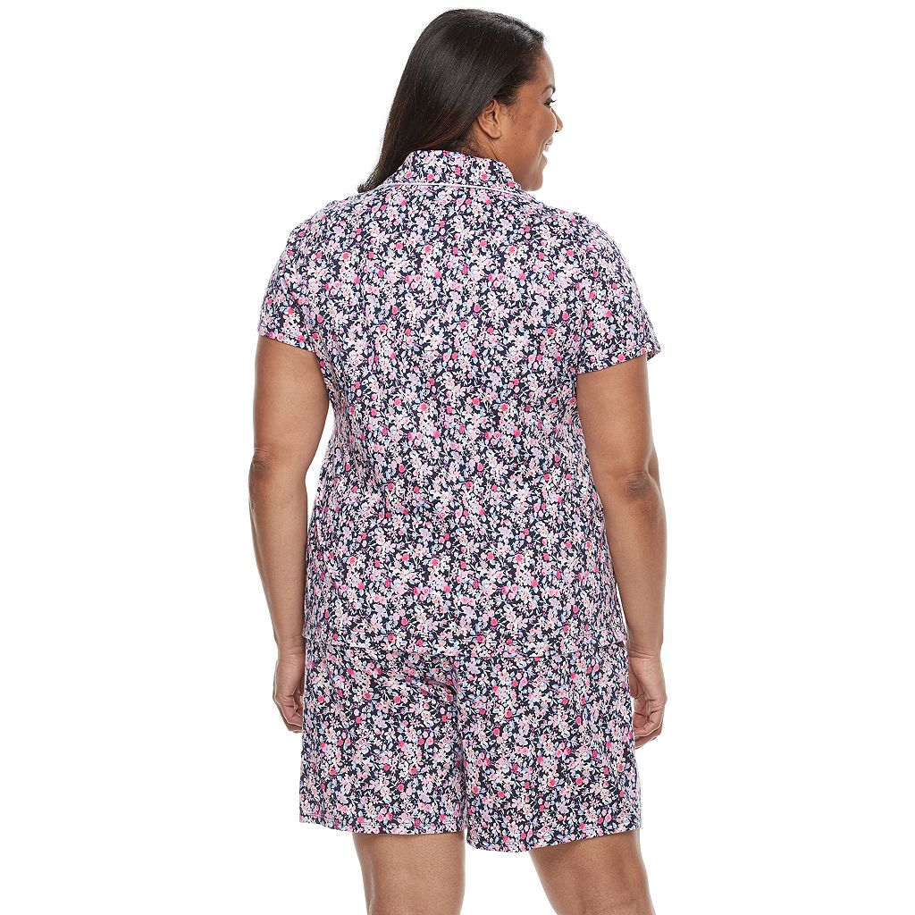 Plus Size Croft & Barrow® Pajamas: New Wave Top & Bermuda Shorts PJ Set