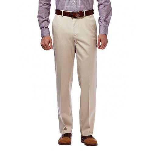 Men's Haggar Premium No-Iron Khaki Stretch Classic-Fit Flat-Front Pants