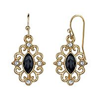 1928 Filigree Marquise Drop Earrings