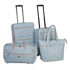 American Flyer Greek Key 4 pc Wheeled Luggage Set