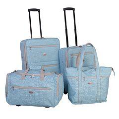American Flyer Greek Key 4 pc Wheeled Luggage Set