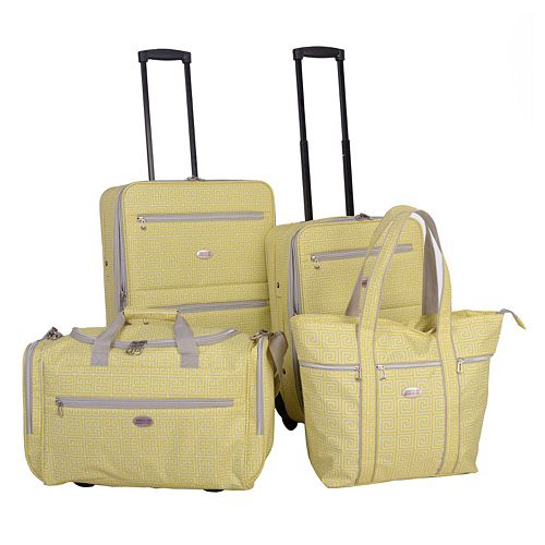 American Flyer Greek Key 4-Piece Wheeled Luggage Set