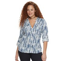 Plus Size Rock & Republic® Tie-Dye Roll-Tab Shirt