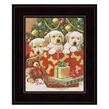 Holiday Puppies Framed Wall Art