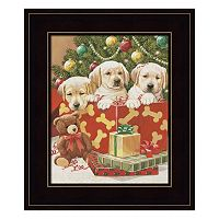 Holiday Puppies Framed Wall Art