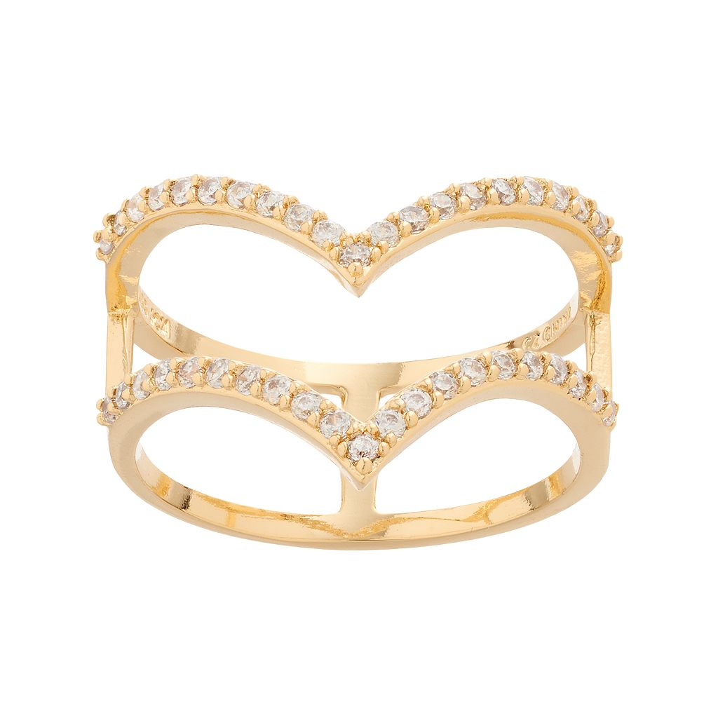Fleur Cubic Zirconia Chevron Double Row Ring