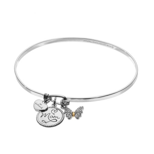 "Hallmark Two Tone 18k Gold Over Silver Cubic Zirconia ""Mom"" & Butterfly Charm Bangle Bracelet"