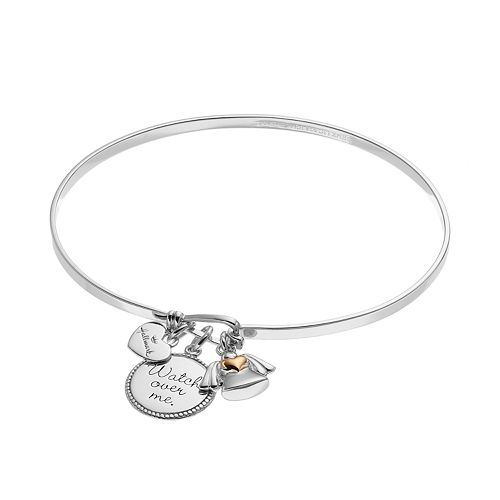 """Hallmark Two Tone 18k Gold Over Silver """"Watch Over Me"""" & Angel Charm Bangle Bracelet"""