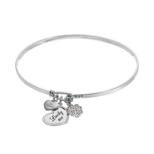 "Hallmark Sterling Silver Cubic Zirconia ""Lucky Me"" & Clover Charm Bangle Bracelet"