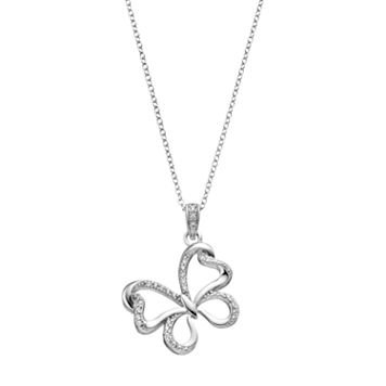 Hallmark Sterling Silver Cubic Zirconia Butterfly Pendant Necklace