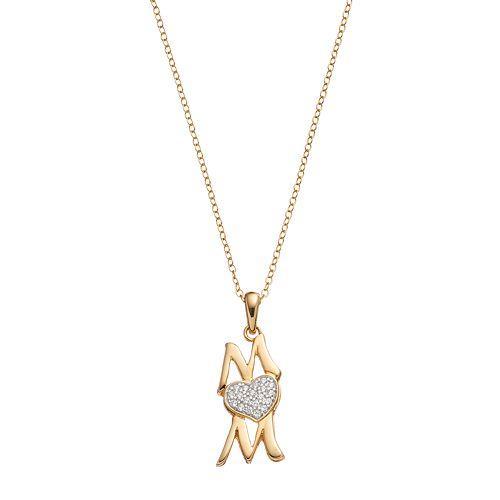 "Hallmark 18k Gold Over Silver Cubic Zirconia ""Mom"" Pendant Necklace"