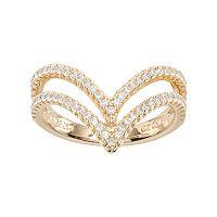 Fleur Cubic Zirconia Double Chevron Ring