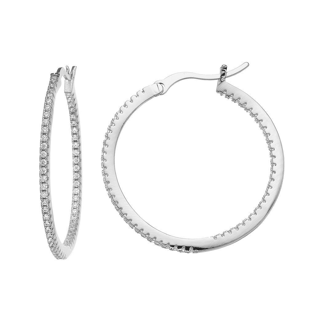 Fleur Cubic Zirconia Inside-Out Hoop Earrings