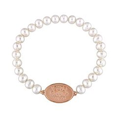 Laura Ashley Lifestyles 10k Rose Gold Plated Freshwater Cultured Pearl Stretch Bracelet