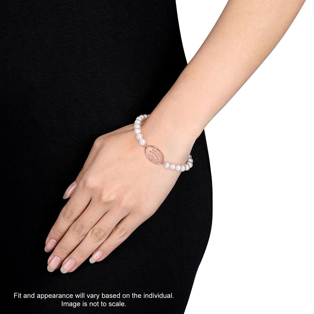 Laura Ashley 10k Rose Gold Plated Freshwater Cultured Pearl Stretch Bracelet