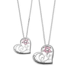 Hallmark Sterling Silver Cubic Zirconia 'Granddaughter' & 'Grandmother' Pendant Necklace Set