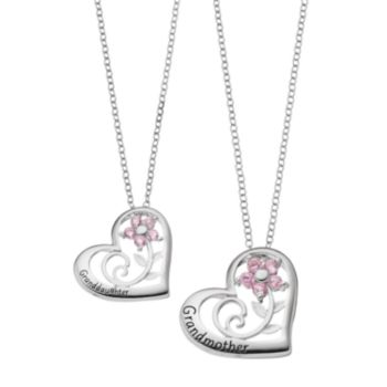 "Hallmark Sterling Silver Cubic Zirconia ""Granddaughter"" & ""Grandmother"" Pendant Necklace Set"