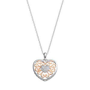 Hallmark Two Tone 18k Gold Over Silver Cubic Zirconia Filigree Heart Pendant Necklace