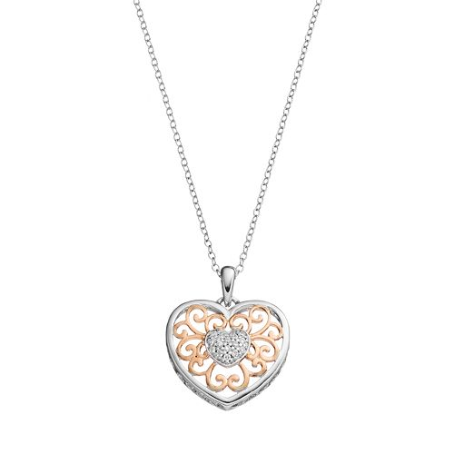 Hallmark Two Tone 18k Gold Over Silver Cubic Zirconia Filigree Heart Pendant Necklace