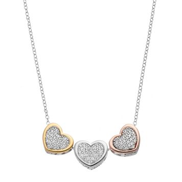 Hallmark Tri Tone 18k Gold Over Silver Cubic Zirconia Triple Heart Necklace