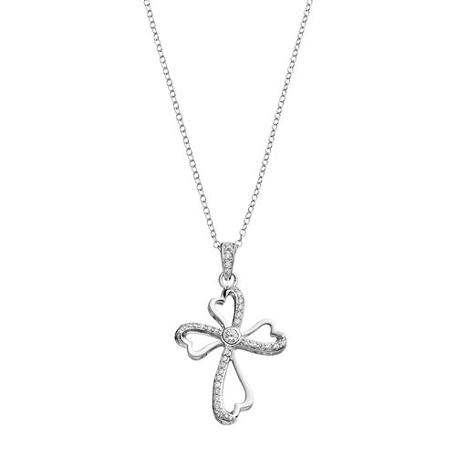 Hallmark Sterling Silver Cubic Zirconia Ribbon Cross Pendant Necklace