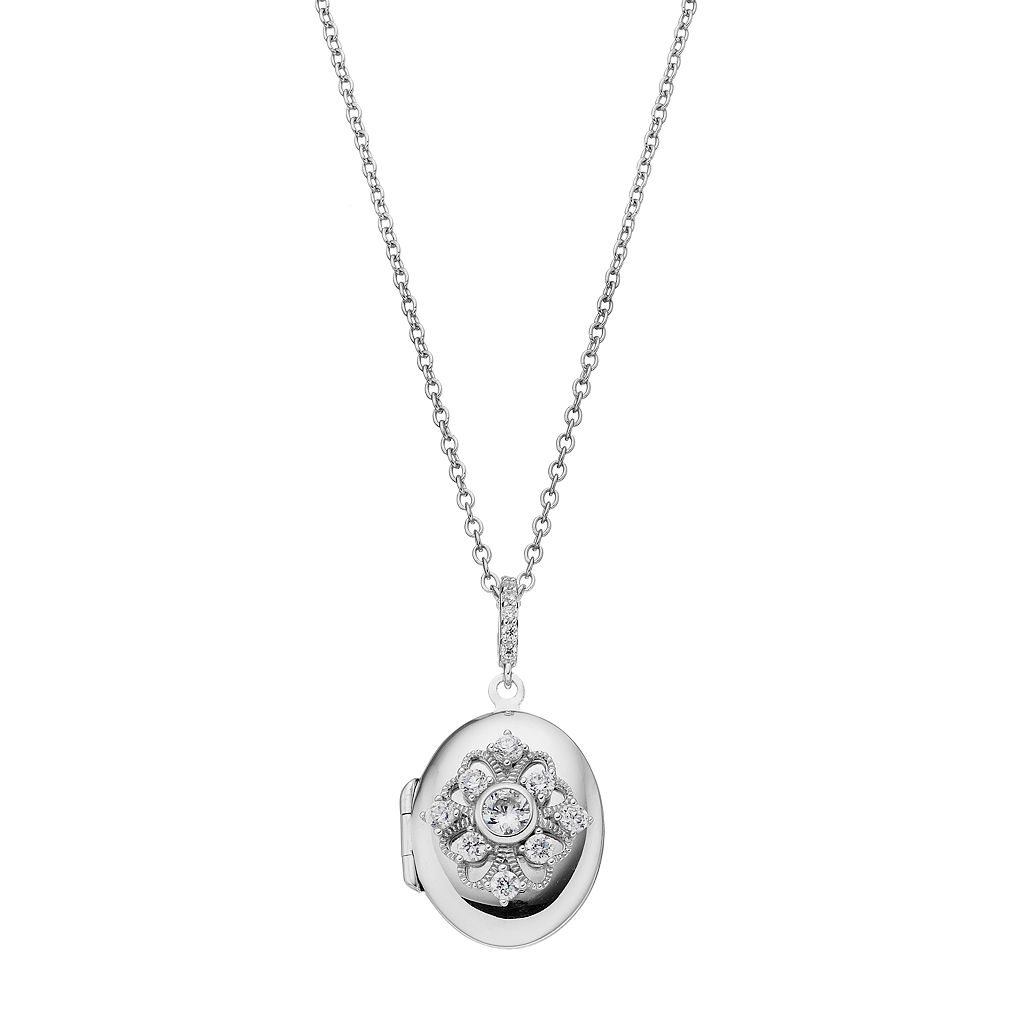 Hallmark Sterling Silver Cubic Zirconia Oval Locket Necklace