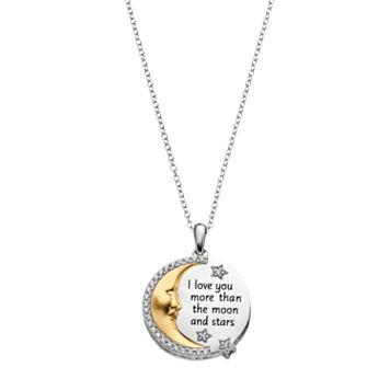 Hallmark Two Tone 18k Gold Over Silver Cubic Zirconia Crescent Moon Pendant Necklace