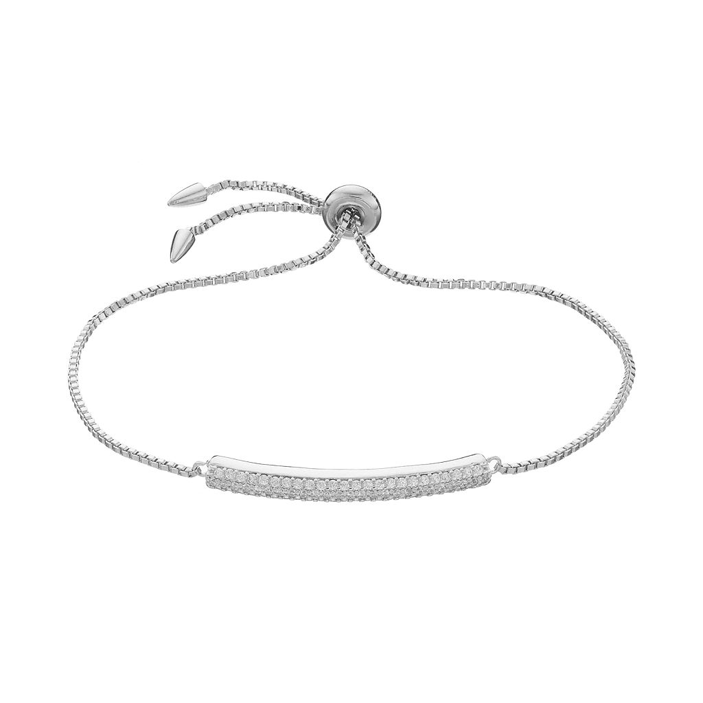 Fleur Cubic Zirconia Curved Bar Bolo Bracelet