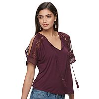 Women's Jennifer Lopez Cold-Shoulder Lace Top
