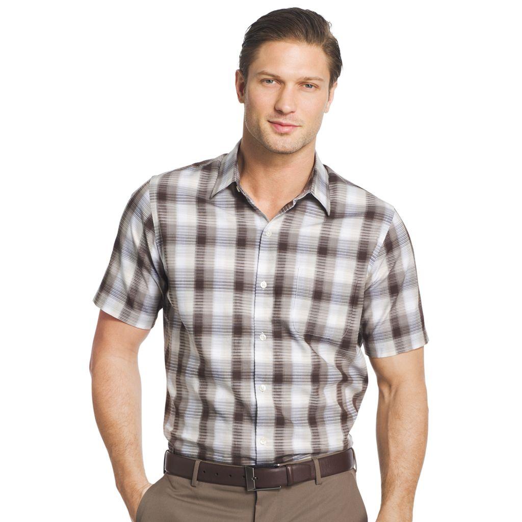 Big & Tall Van Heusen Classic-Fit Plaid Textured Button-Down Shirt