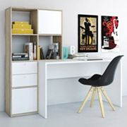 Wakefield Two-Tone Bookshelf Desk