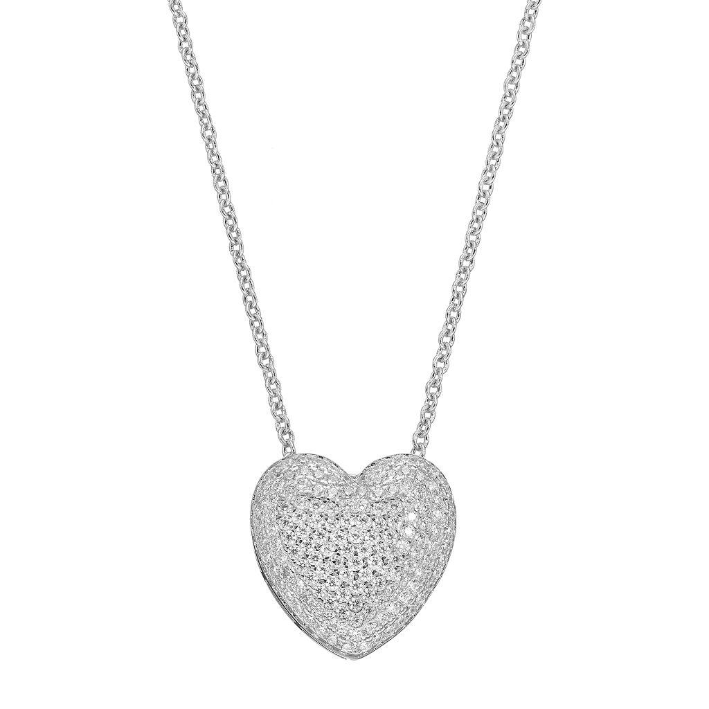 Fleur Cubic Zirconia Heart Pendant Necklace