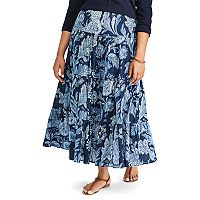 Plus Size Chaps Tiered Floral Maxi Skirt