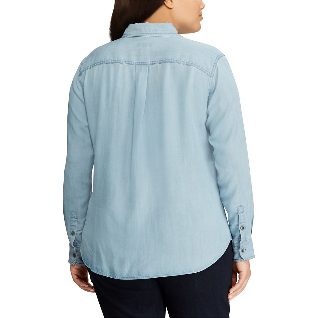 Plus Size Chaps Chambray Button-Down Shirt