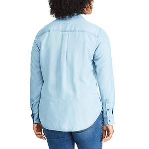 Plus Size Chaps Chambray Button-Down Shirt
