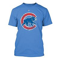 Big & Tall Majestic Chicago Cubs Distressed Logo Tee