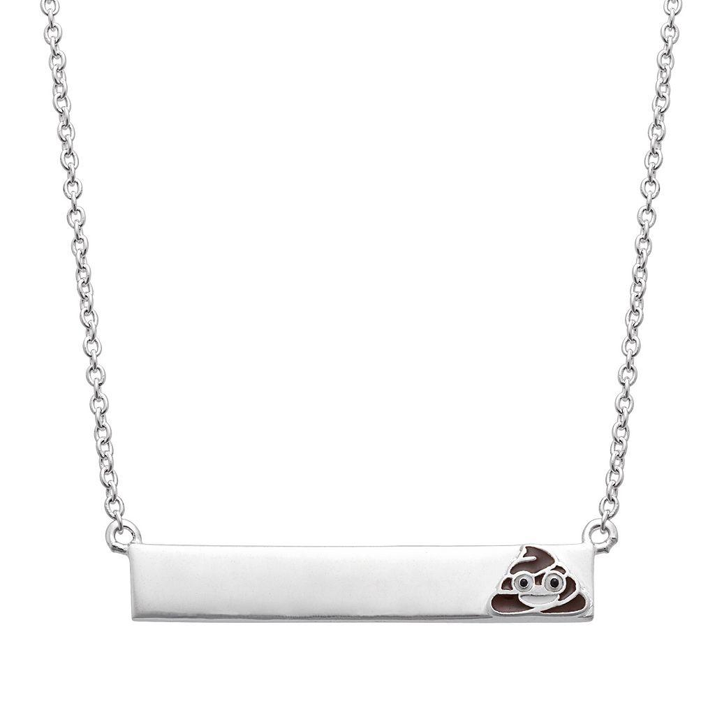 Sterling Silver Emoji Bar Necklace