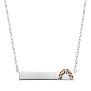 Sterling Silver Rainbow Bar Necklace