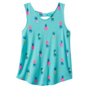 Girls 7-16 SO® Bow Back Printed Tank Top
