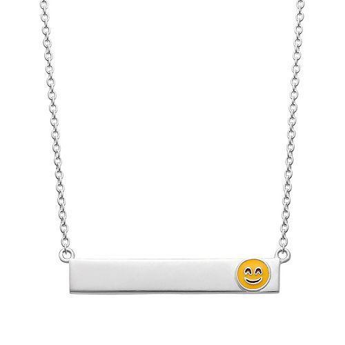 Sterling Silver Smiley Emoji Bar Necklace