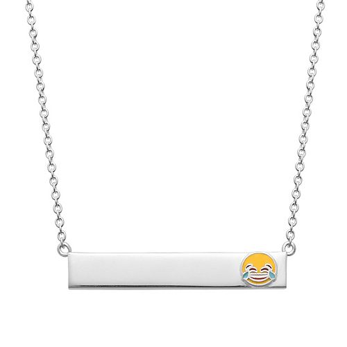 Sterling Silver Laughing Emoji Bar Necklace
