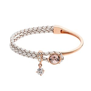 Brilliance Rose Gold Tone & Leather Bracelet with Swarovski Crystals