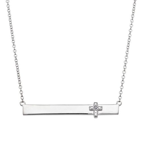 Sterling Silver Diamond Accent Cross Bar Necklace